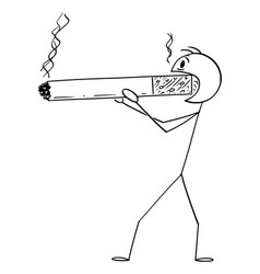 cartoon smoker or man holding and smoking huge vector image
