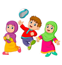 children playing and jumping in ied mubarak vector image