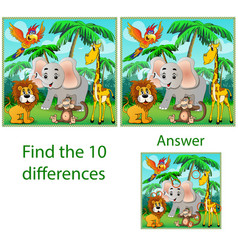 childrens visual puzzle find ten differences vector image