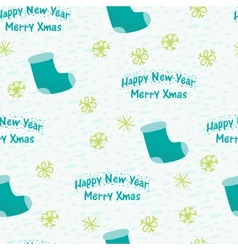 Christmas seamless background with a sock vector image