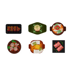 collection served food dishes cooking and vector image