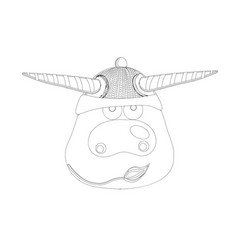 coloring page ox cow or bull symbol 2021 vector image