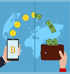 concept of cryptocurrency bitcoin exchange vector image