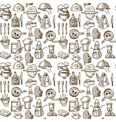 Cooking icons seamless pattern vector image