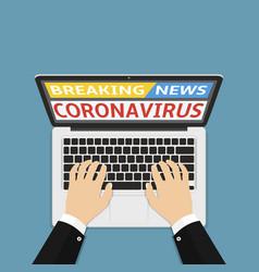 Coronavirus covid-19 breaking news on laptop vector