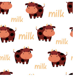 cute cow seamless pattern isolated on white vector image
