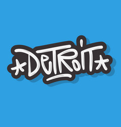 detroit michigan usa urban label sign logo hand vector image