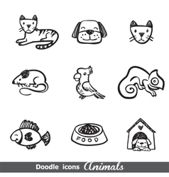 Doodles icons with animals vector