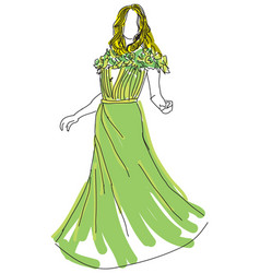 drawn woman in green dress vector image