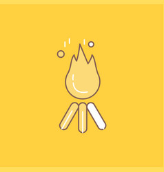 fire flame bonfire camping camp flat line filled vector image