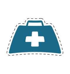 first aid kit suitcase emergency clinic cut line vector image