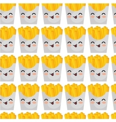 french fries character kawaii style vector image