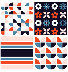 funky geometric midcentury seamless pattern vector image