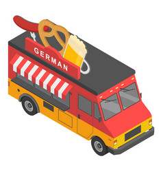 German food truck icon isometric style vector