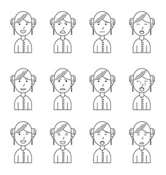 Girl face expressions set collection vector