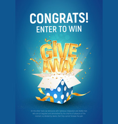 Giveaway word above open textured blue box vector