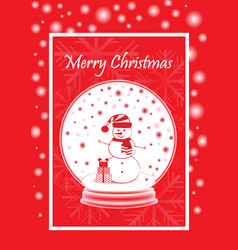 greeting card marry christmas with snowman in the vector image