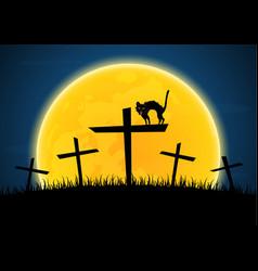 Halloween growl black cat cross moon graveyard vector
