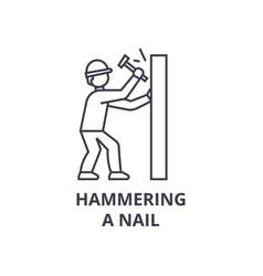 hammering a nail line icon sign vector image