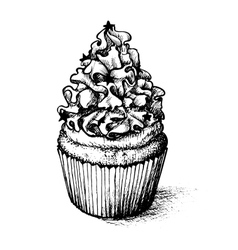 Hand drawn cupcake set for coloring book vector