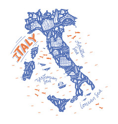 Handdrawn map italy vector