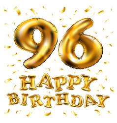 Happy birthday 96th celebration gold balloons and vector