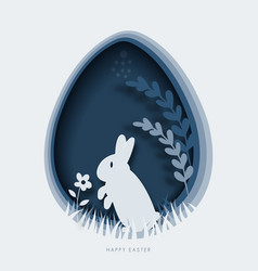 happy easter greeting card template paper cut vector image