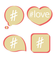 hashtag post social media icons set vector image