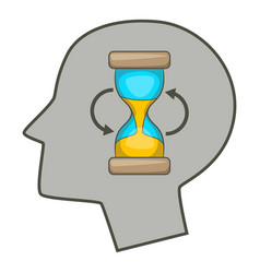 Hourglass inside human head icon cartoon style vector