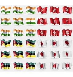 India Hong Kong Mozambique Japan Set of 36 flags vector