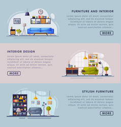 interior and stylish furniture design landing page vector image