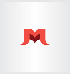 letter m and v red logo mv icon vector image