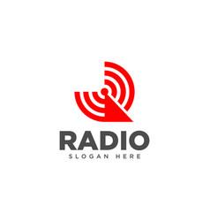 Letter r radio logo design template vector