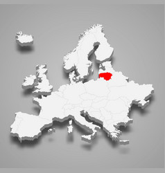 lithuania country location within europe 3d map vector image