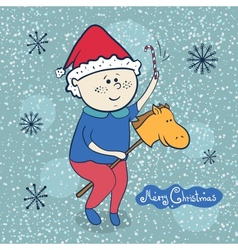 Little boy with toy horse christmas vector image