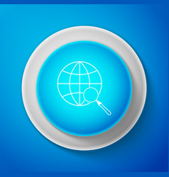 magnifying glass with globe icon isolated on blue vector image