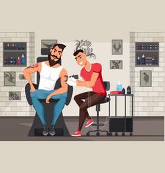 Man in tattoo studio flat vector