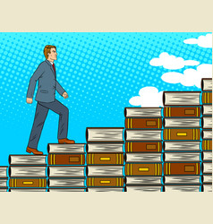 Man walking up stairs from books pop art vector
