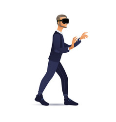 Man wearing virtual reality headset walking and vector