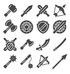 medieval weapons and armors set warrior vector image