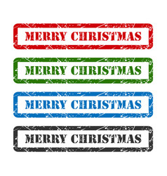 Merry christmas set rubber stamp isolated on vector