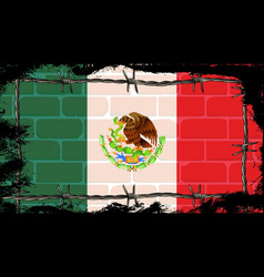 mexican wall and barbed wire vector image