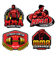 mma training design badge vector image