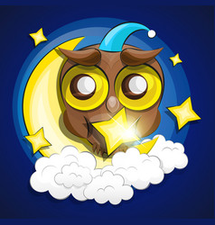 moon and owl vector image