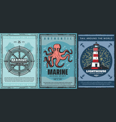 Nautical ship anchors helm lighthouse octopus vector