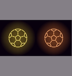 neon football ball in yellow and orange color vector image