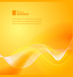 Orange smooth light lines vector image