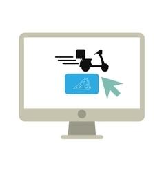 ordering food online computer vector image