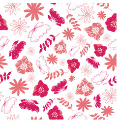 Pink tossed floral and leaves mix seamless pattern vector