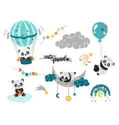 Playful cute bapandas vector